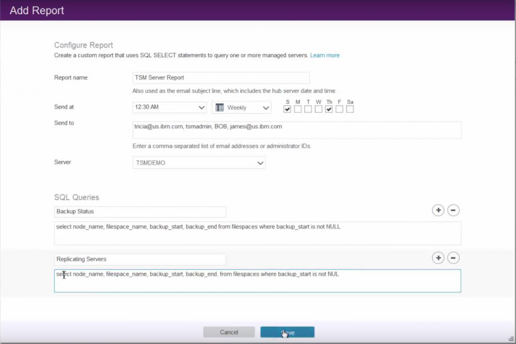 Interface de création d'un rapport personnalisé