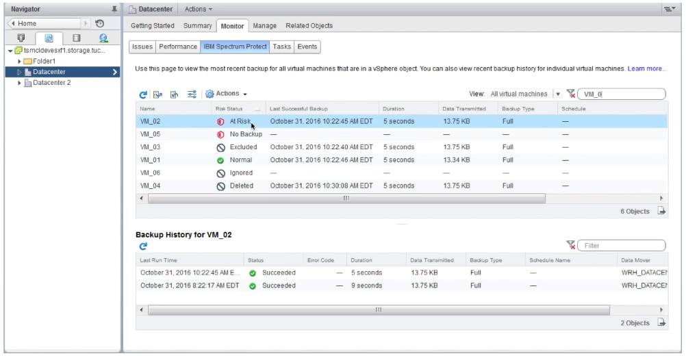 Suivi des sauvegardes VMware