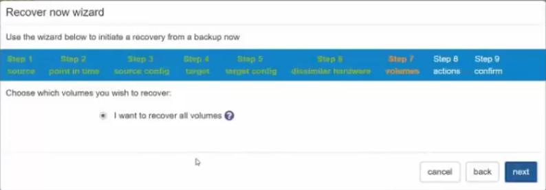 Etape 7 : Sélection des volumes à restaurer